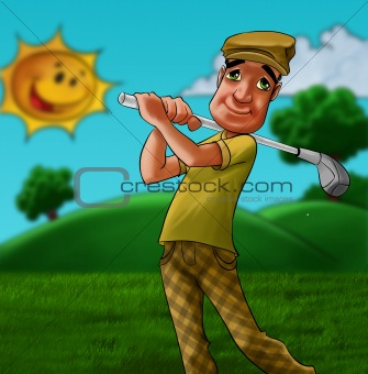 man playing golf