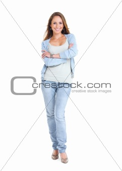 Happy young female standing with folded hand