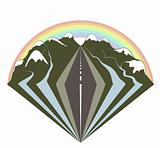 Mountains road and a rainbow