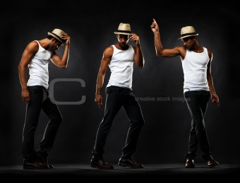 Full length of young man performing various dance moves
