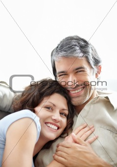 Closeup portrait of middle aged couple in love