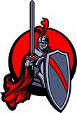 Medieval Knight with Sword and Shield Vector Mascot