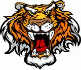 Cartoon Tiger Mascot Head Vector Illustration
