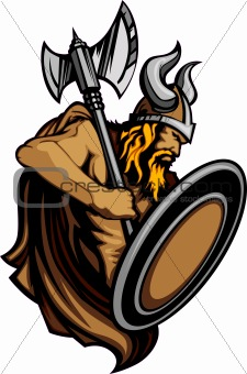 Viking Norseman Mascot Standing with Ax and Shield Vector Image