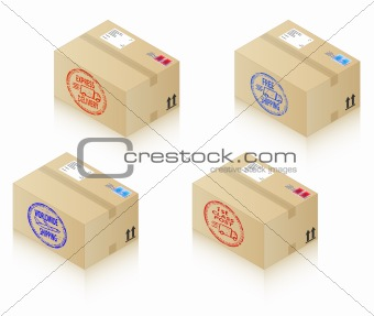 Postal boxes with shipping stamps.