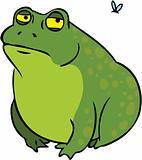 Grumpy fat frog cartoon character