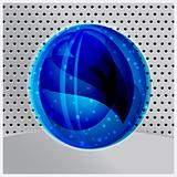 vector abstract blue sphere on metal background