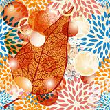 vector autumn leaf with bubbles on seamless floral pattern