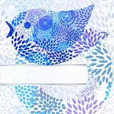 vector abstract background with floral circle, bird,  and place