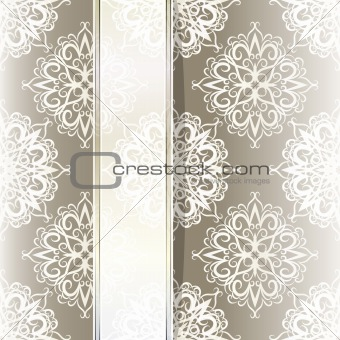 vector seamless vintage wallpaper with ribbon for your text