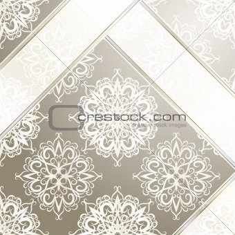 vector seamless vintage wallpaper with ribbons and snowflakes