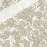 vector seamless paisley background with ribbon