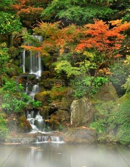 Autumn fog and waterfall
