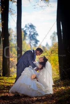 Newlyweds portrait in autumn park