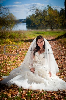 Bride in autumn field