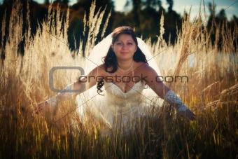 Bride in autumn field