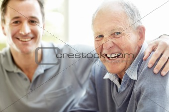 Closeup portrait of an old man having fun