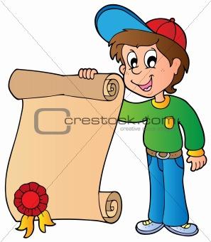 Boy holding diploma