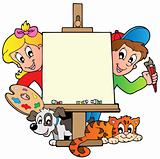 Cartoon kids with painting canvas