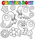 Coloring book three butterflies