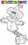 Coloring book with clown in box