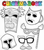 Coloring book with different masks
