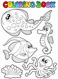 Coloring book with sea animals 3