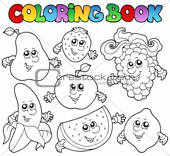 Coloring book with various fruits