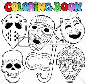 Coloring book with various masks