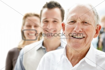 Closeup portrait of an old man smiling
