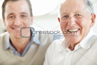 Closeup portrait of senior man smiling