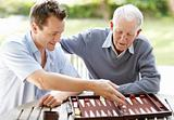 Father and son busy playing backgammon in a park