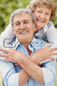 Portrait of a romantic old couple enjoying
