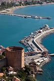 Turkey, Alanya - red tower and harbor