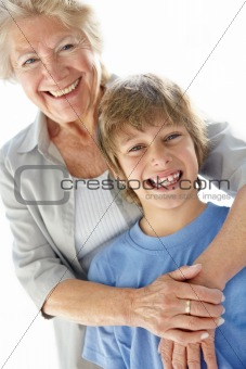 Portrait of grandmother and grandson smiling