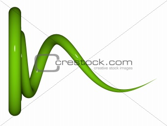 3d render of shiny reflective green coil on white