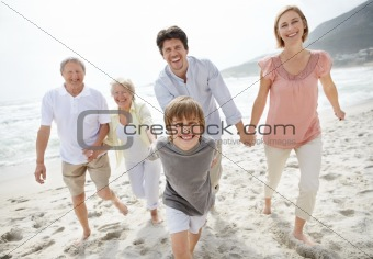 Portrait of a happy family walking