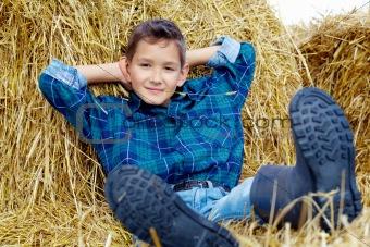 Boy on hay