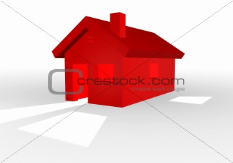 3D illustration of a red house