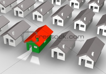 3D illustration of a group of houses