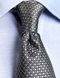 Detail view of collar tie shirt