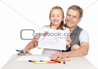 Portrait of a cute small girl sitting with her grandfather