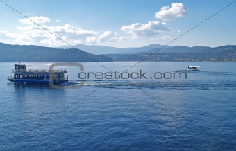 A Mountain Lake with a Cruise Ship and Water Plane - Coeur d'Alene Idaho USA