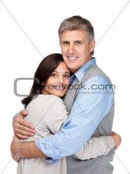 Senior couple hugging each other