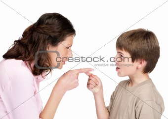 Beautiful young woman and her son pointing to each other