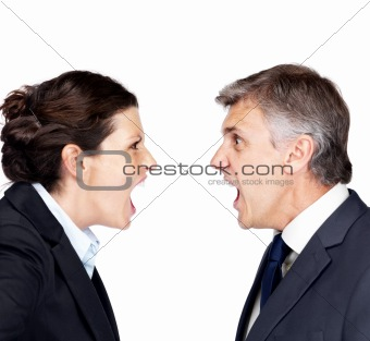 Mature businessman and woman yelling together