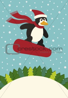 Penguin Snowboarding