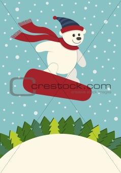 Polar Bear Snowboarding