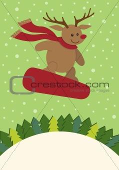Reindeer Snowboarding