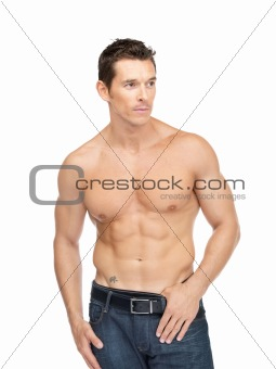 Young muscular man posing